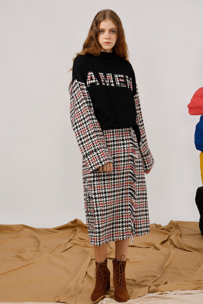 AMEN Embroidered Houndstooth Skirt - AMENPAPA Fashion