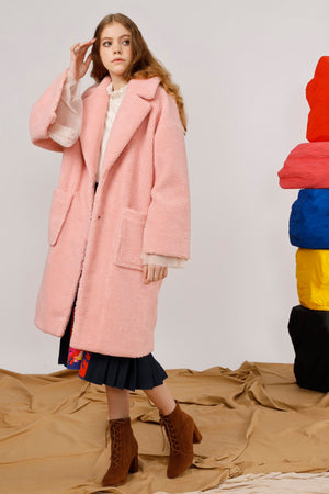 Jesus Embroidered Faux Shearling Coat - AMENPAPA Fashion