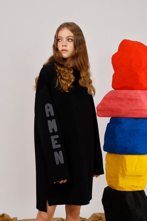 AMEN Appliqued Hooded Jersey Dress - AMENPAPA Fashion