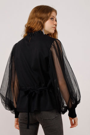 Move Mountains Flocked with Tulle Sleeves Sweatshirt - AMENPAPA Fashion