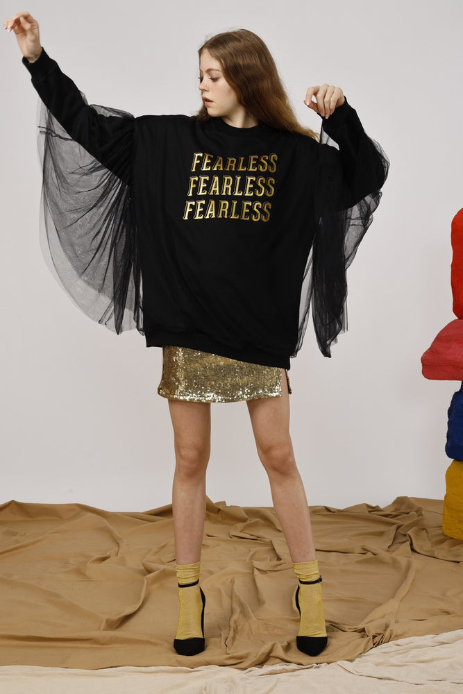 Fearless Layered Tulle and Interlock Sweatshirt - AMENPAPA Fashion
