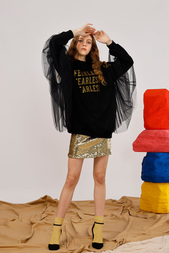 Fearless Layered Tulle and Interlock Sweatshirt