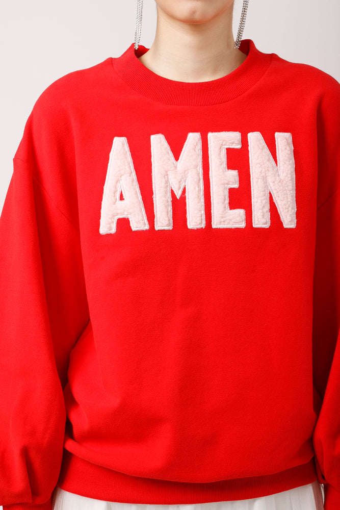 AMEN Appliqued Puff Sleeves Sweatshirt - AMENPAPA Fashion