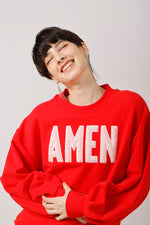 AMEN Appliqued Puff Sleeves Sweatshirt