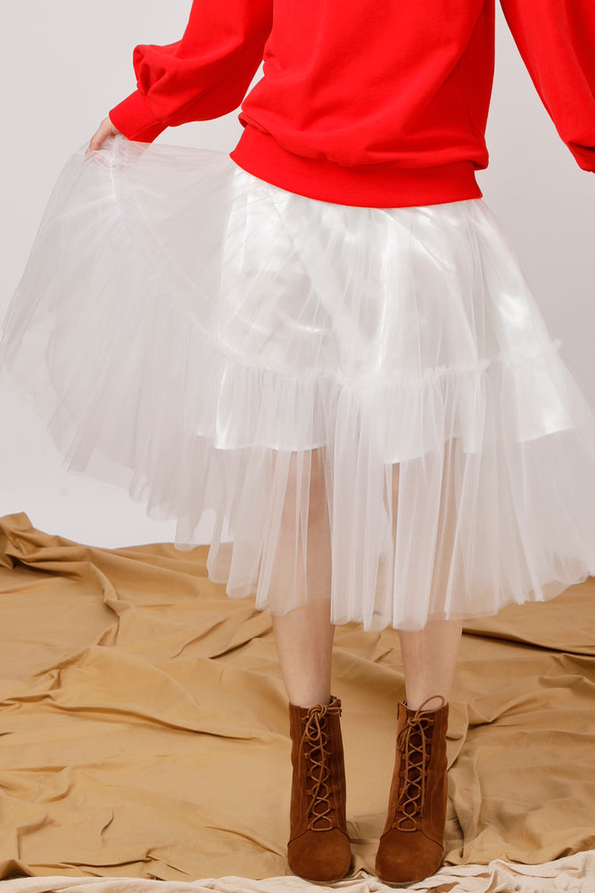 Layered Tulle Midi Skirt - AMENPAPA Fashion