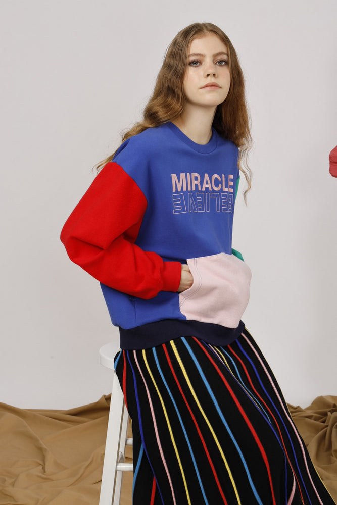 Miracle Embroidered Color-Block Sweatshirt