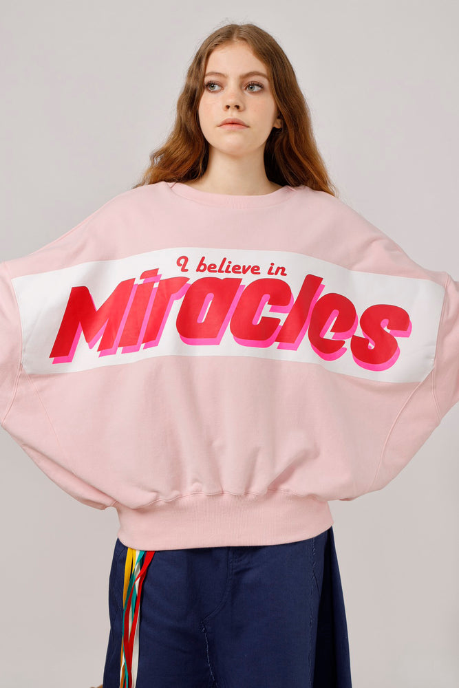 2ways Oversized Miracles Printed Sweat Top