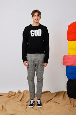 Unisex GOD KNOWS Intarsia Sweater