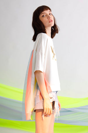 AMEN foil printed jersey and tulle oversize tee