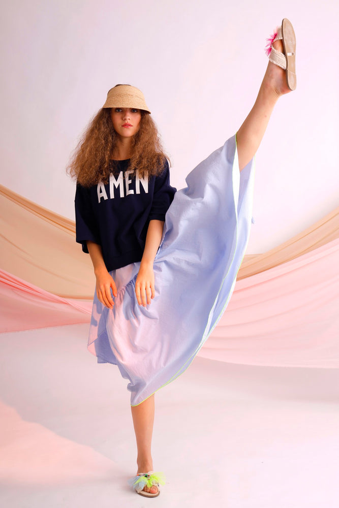 AMEN printed jersey and striped cotton oversize tee