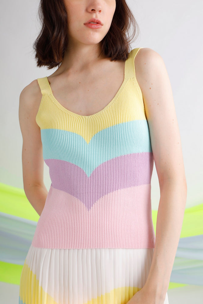 Ribbed jacquard-knit camisole