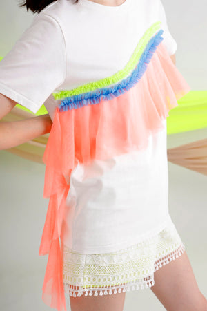 Multi color tulle-trimmed jersey tee