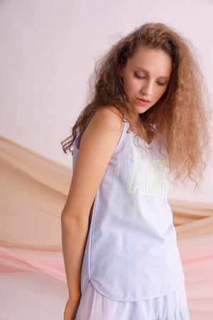 AMEN embroidery striped cotton-poplin tank vest