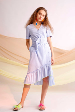 Passion embroidered belted striped wrap dress