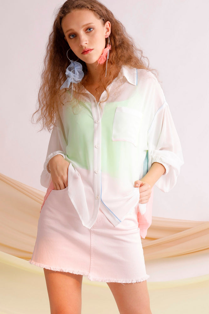 Printed pleated chiffon blouse