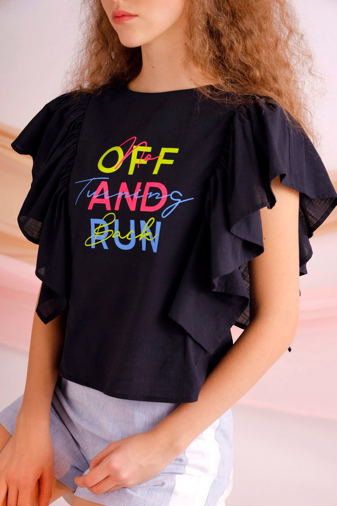 Off and run printed ruffled linen-blend top