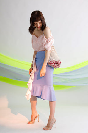 Ruffled paneled midi skirt