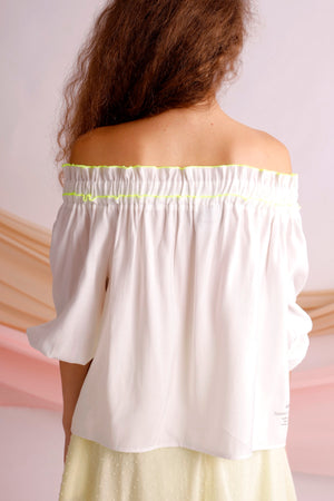 Off shoulder gathered top