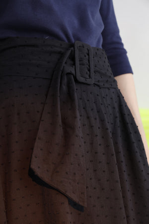 Belted polka-dot cotton midi skirt with side slit