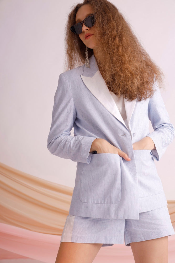 Hallelujah embroidered pinstriped cotton blazer