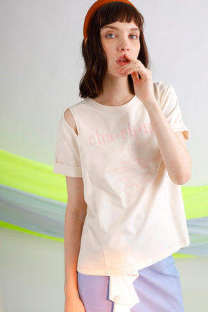 Charisma printed cut-out cotton jersey tee