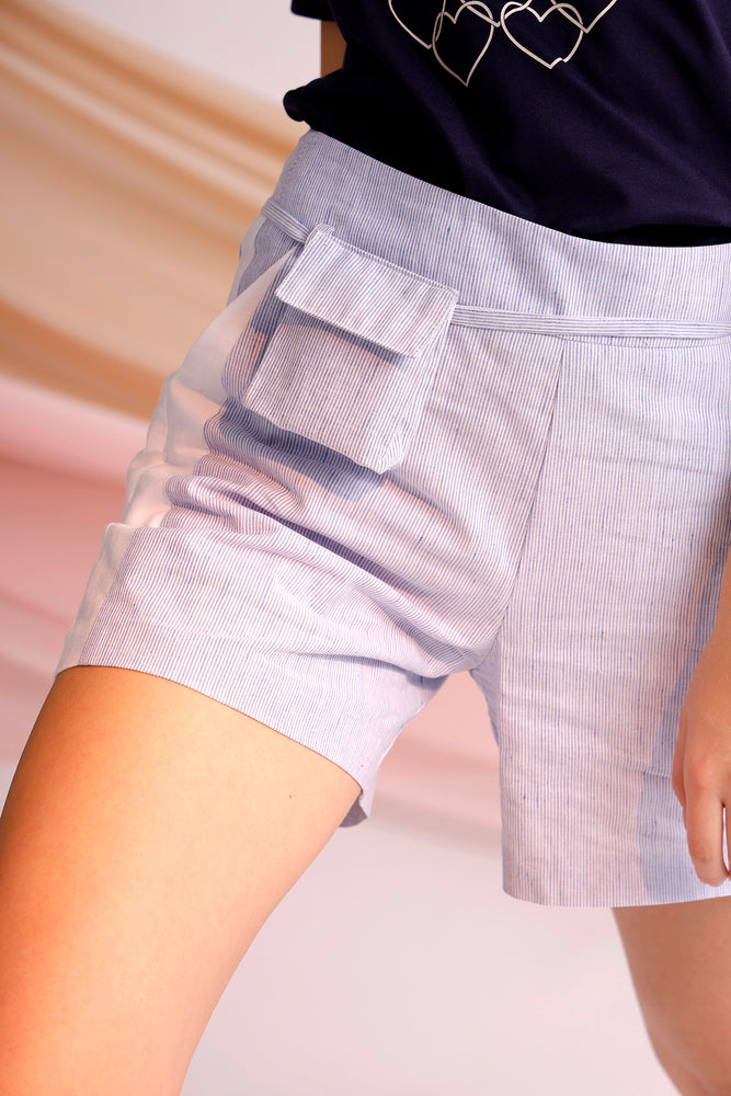 Pinstriped two-tone shorts with belt bag