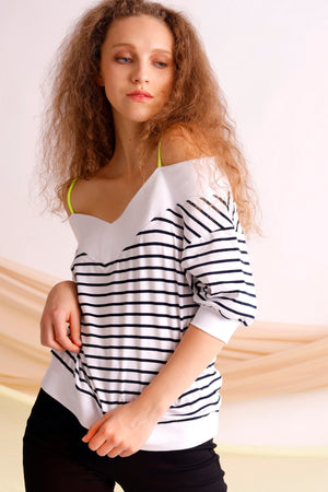Off shoulder striped cotton jersey top