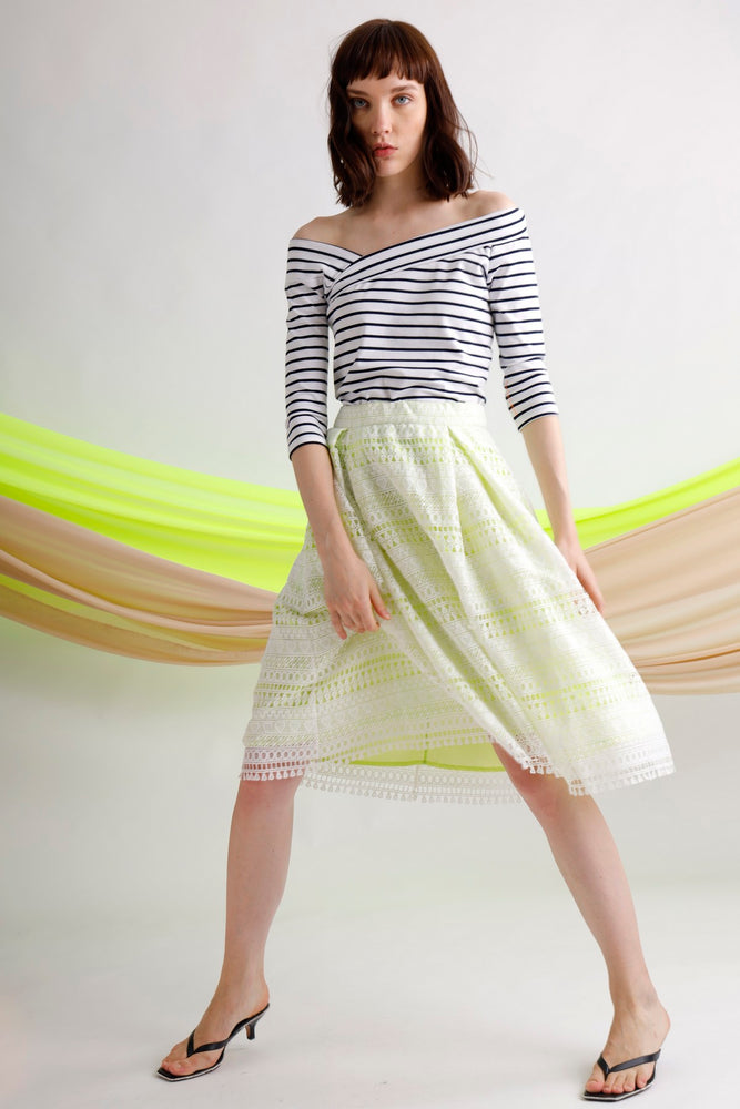 Asymmetric striped jersey top