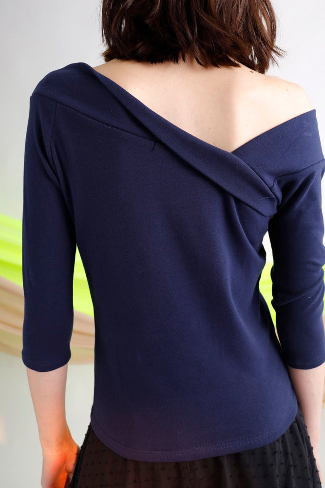 Asymmetric jersey top
