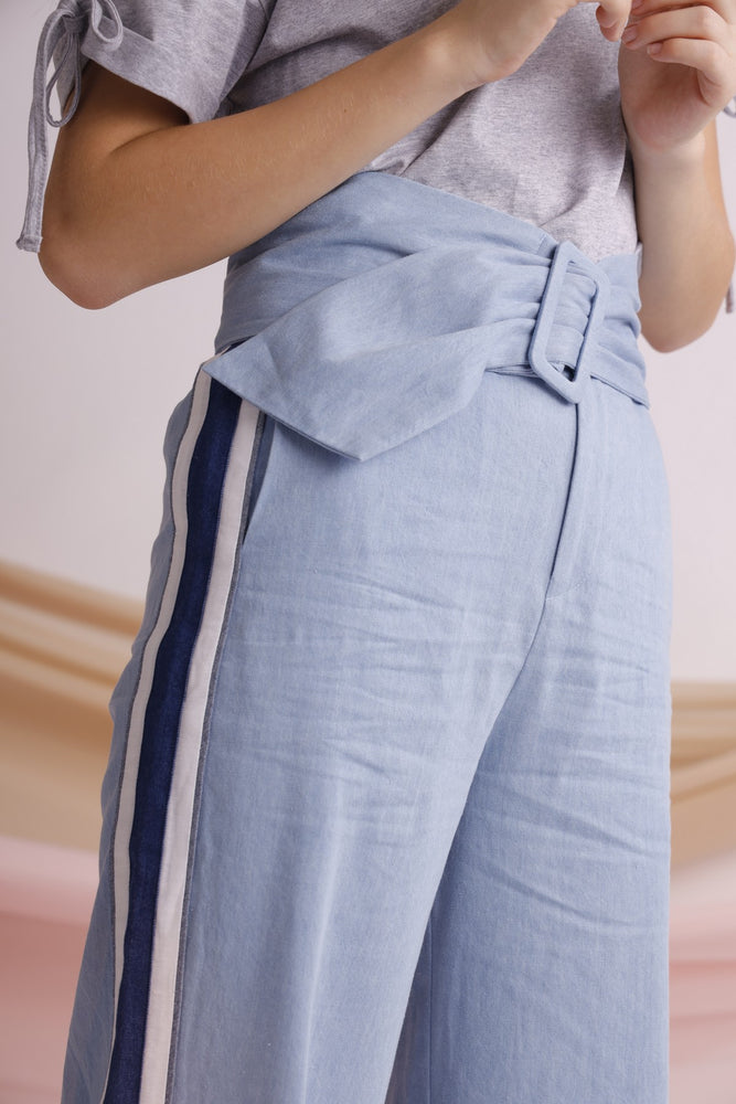 Belted striped denim wide-leg pants