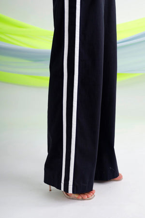 Belted striped linen wide-leg pants