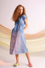 Break your limit embroidered gathered denim dress