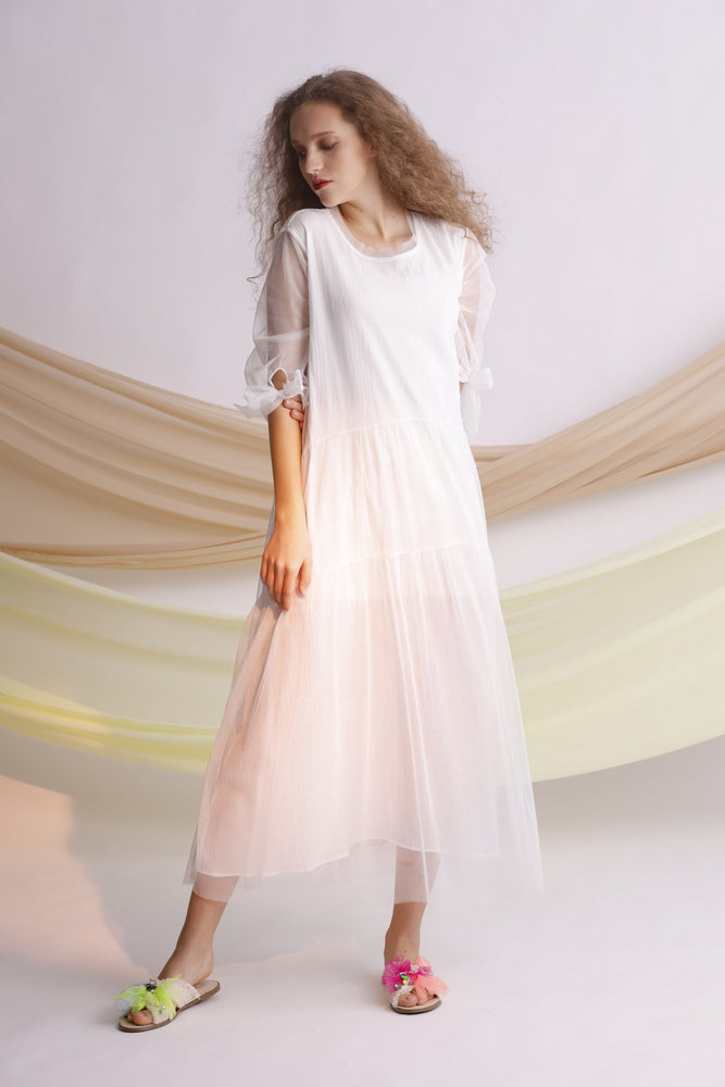 Bow-embellished tulle maxi dress with lining