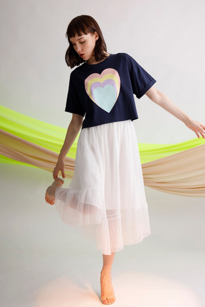 Asymmetric pleated tulle skirt