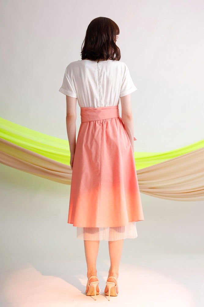 Paneled belted linen, cotton and tulle midi dress