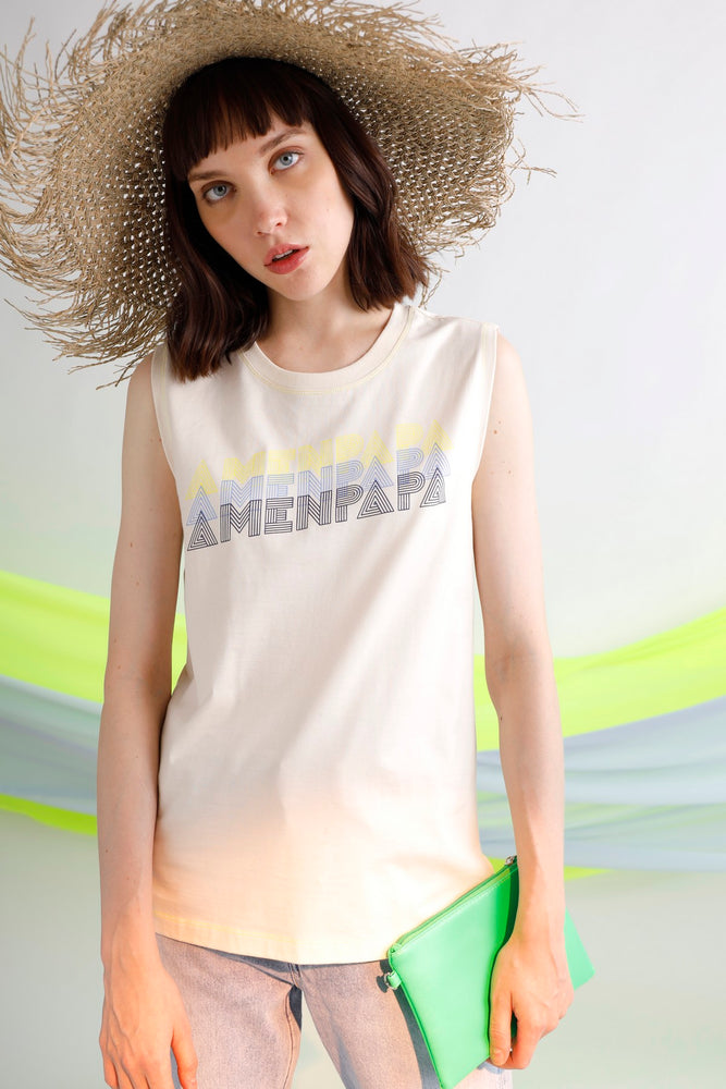 AMENPAPA printed cotton jersey tank top