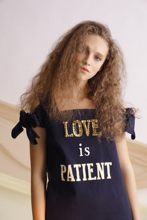 Love is patient embroidery bow-embellished dress