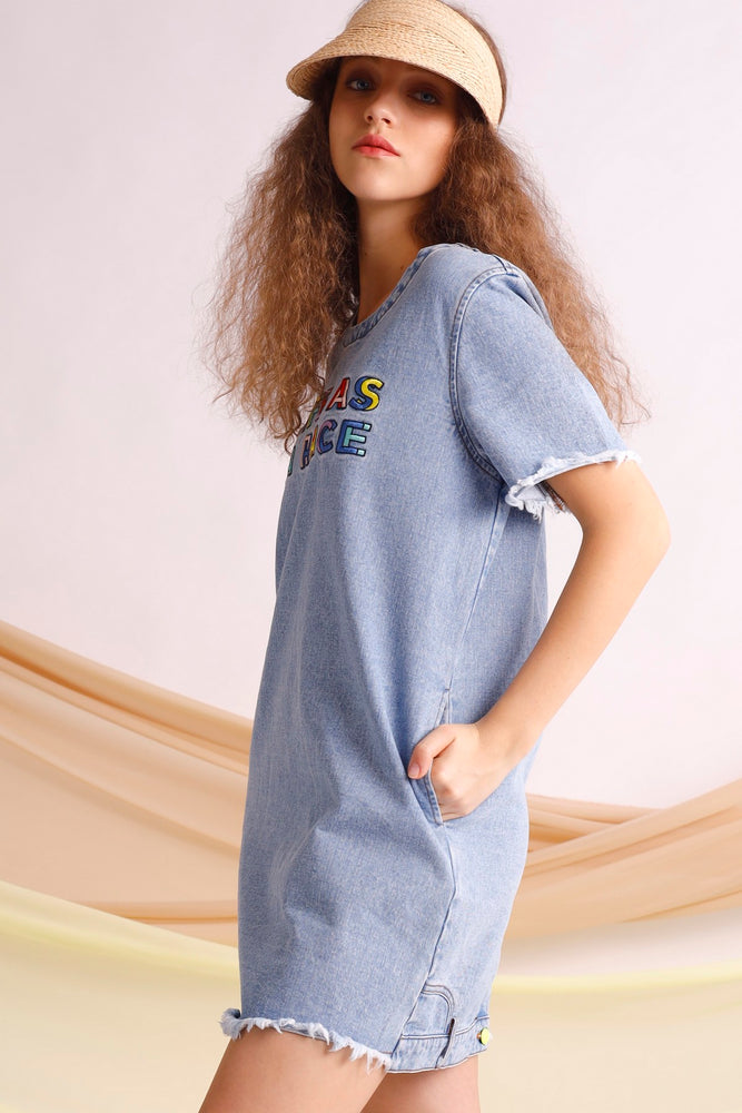 Life as a race embroidered oversized dress