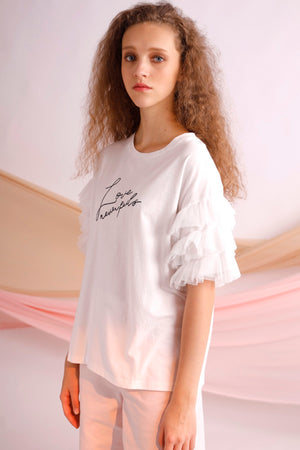 Love never fails embroidery ruffled tulle tee