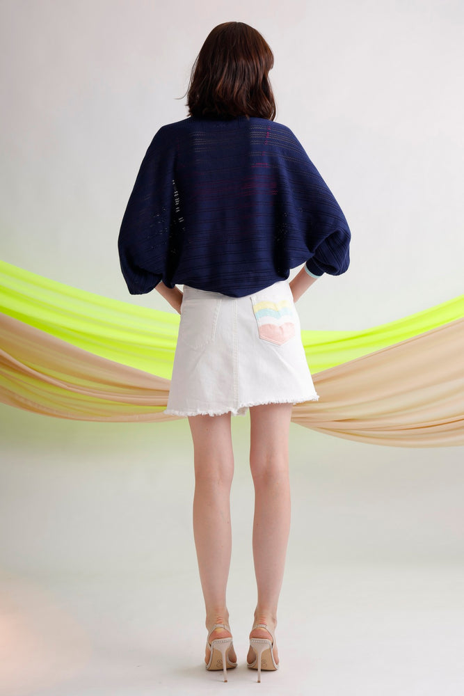 Embroidered asymmetric waistband mini skirt