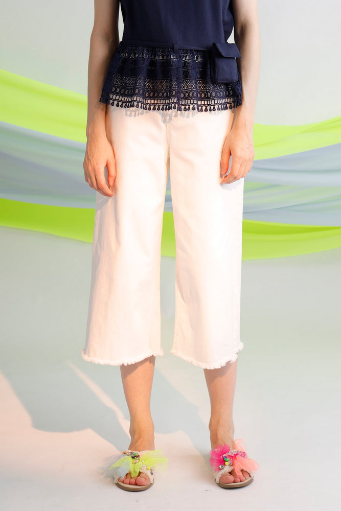 Embroidered asymmetric waistband culottes