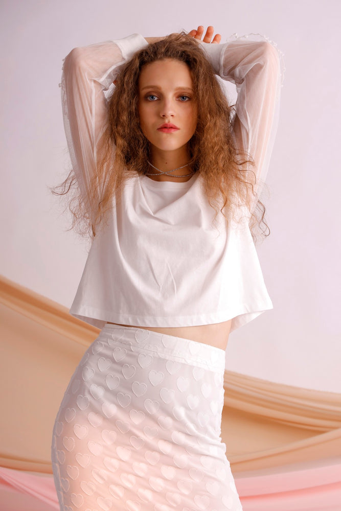 Ruffled tulle cropped cotton jersey top