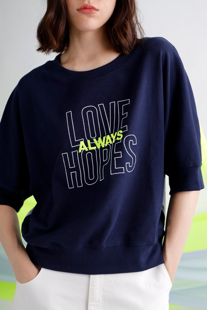 Love always hopes printed tulle trimmed jersey top