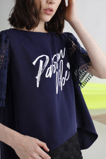 Passionate vibe printed lace sleeves top