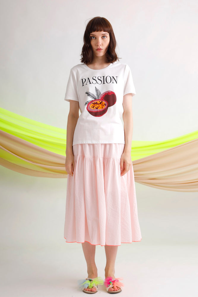Passion fruit printed and embroidered tee