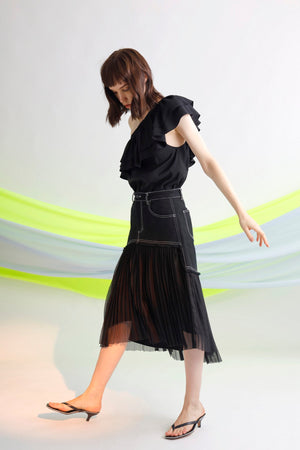 Asymmetric pleated mesh cotton twill midi skirt