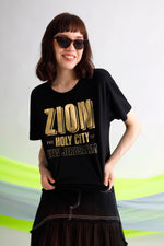 Zion foil printed cotton jersey tee