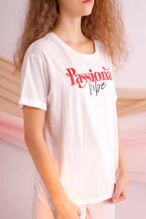 Passionate vibe printed cotton jersey tee