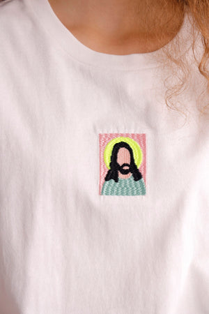 Jesus portrait embroidered cotton jersey tee