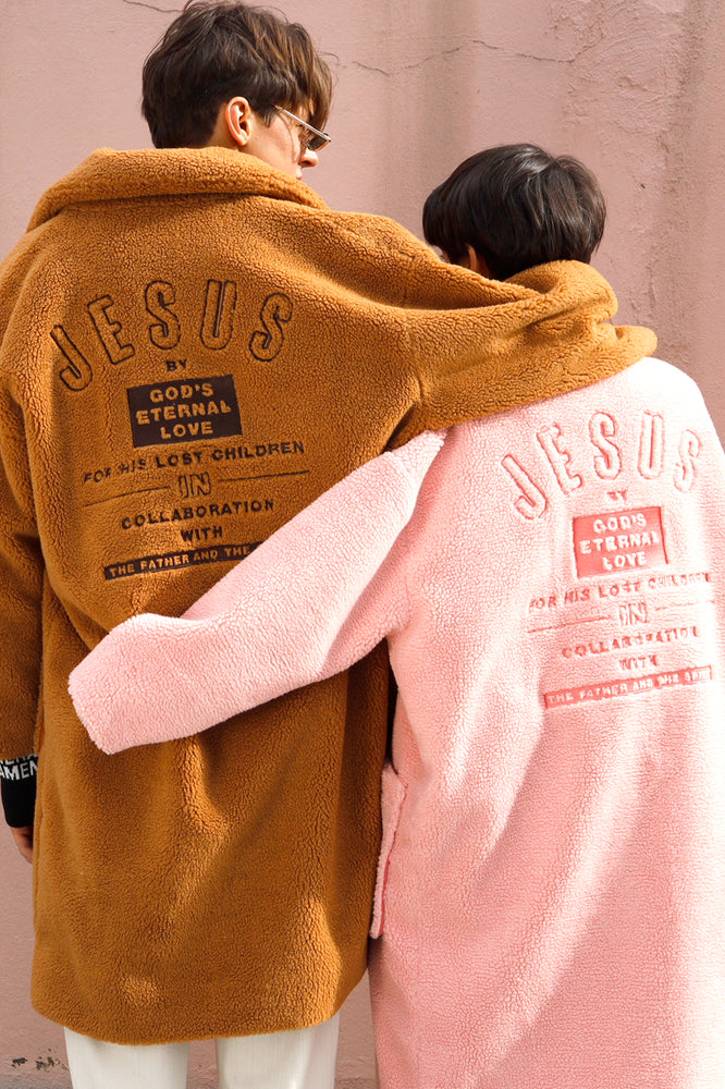 Jesus Embroidered Faux Shearling Coat